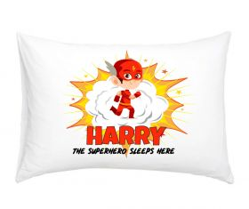Personalised Superhero Pillowcase - Lightning Red
