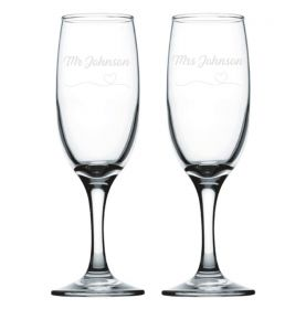 Personalised Wedding Champagne Flutes - Heart_Line