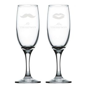 Personalised Wedding Champagne Flutes - MST/LIPS