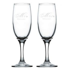 Personalised Wedding Champagne Flutes - Red_Heart