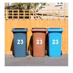 Wheelie Bin Numbers/Letters Stickers (Pack of 4 Sets)