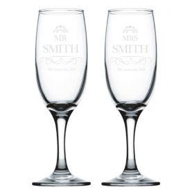 Personalised Wedding Champagne Flutes - EL_Heart032