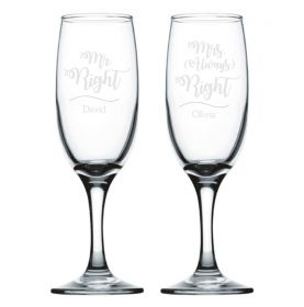 Personalised Wedding Champagne Flutes - Always Right