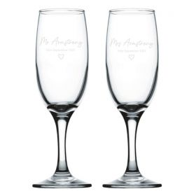 Personalised Wedding Champagne Flutes - BLK_Heart