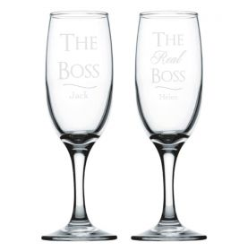 Personalised Wedding Champagne Flutes - The Boss