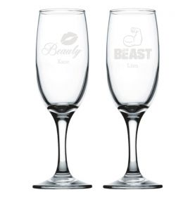 Personalised Wedding Champagne Flutes - Beauty & Beast