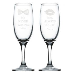 Personalised Wedding Champagne Flutes - Never / Always