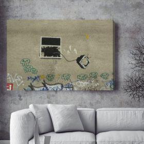 Tv Through Window Banksy Canvas