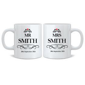Personalised Wedding Mr & Mrs Mugs - EL_Heart032