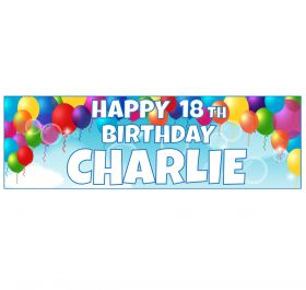 Giant Personalised Birthday Banner - Blue Balloons BB12