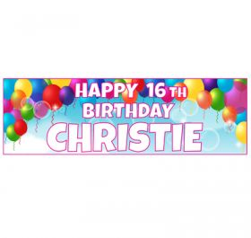 Giant Personalised Birthday Banner - Pink Balloons BB12