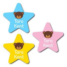 30 Star Bear Name Labels
