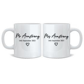 Personalised Wedding Mr & Mrs Mugs - BLK_Heart