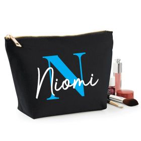Personalised Name Black Make Up Bag - Blue (ITL#)