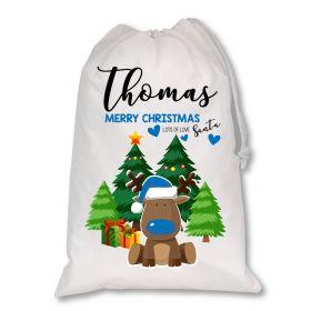 White Christmas Personalised Sack - Blue Reindeer