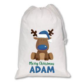Extra Large White Santa Personalised Sack - Reindeer Blue