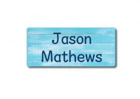 Blue Pattern Rectangle Name Label