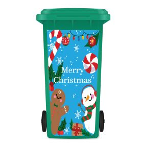 CHRISTMAS WHEELIE BIN STICKER PANEL - Festive Merry Blue