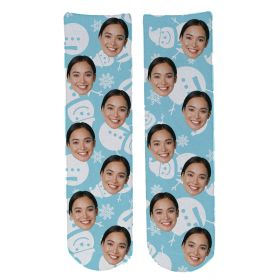 Personalised Christmas Face Socks - Snowman (BlueBG)