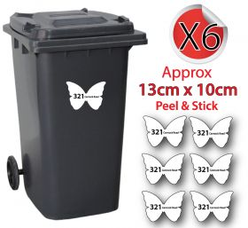 x6 Personalised House Number & Street Name Wheelie Bin Stickers (Butterfly)