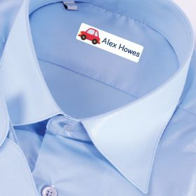 25 x Personalised Iron-on Name Labels - Car