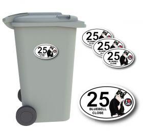 x4 Personalised Number & Street Name Wheelie Bin Stickers (Cat)