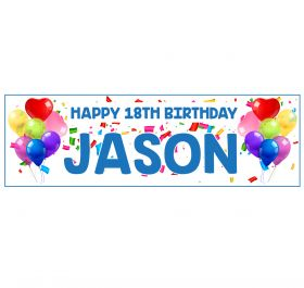 Giant Personalised Birthday Banner - Celebrations Blue