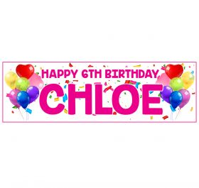Giant Personalised Birthday Banner - Celebrations Pink