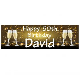 Giant Personalised Birthday Banner - Champagne