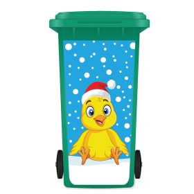 CHRISTMAS WHEELIE BIN STICKER PANEL - Christmas Chick