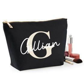 Personalised Name Black Make Up Bag - Beige (ITL#)