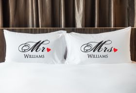 Personalised Mr & Mrs Pillowcase - Red_Heart