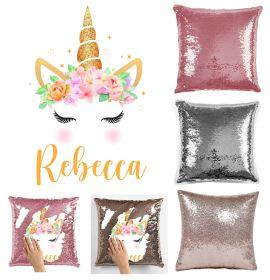 Personalise Name Magic Sequin Cushion Cover- Unicorn 097