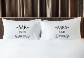 Personalised Mr & Mrs Pillowcase - TWO_HEART_R90
