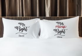 Personalised Mr & Mrs Pillowcase - Always Right