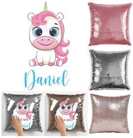 Personalise Name Magic Sequin Cushion Cover - Cute Unicorn Sitting
