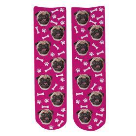 Personalised Pet Face Socks - Dark Pink (D_Bone_Pattern)