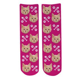 Personalised Pet Face Socks - Dark Pink (C_FishB/Paw_Pattern)