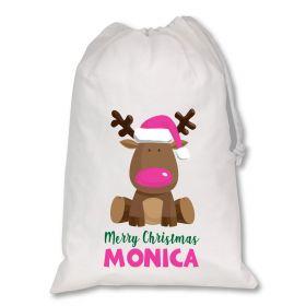 Extra Large White Santa Personalised Sack - Reindeer Dark Pink