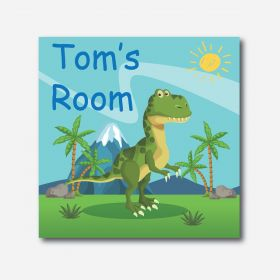 Personalised Kids Room Canvas - Dinosaur (Square)