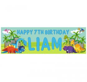 Giant Personalised Birthday Banner - Dinosaur Blue