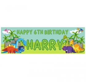 Giant Personalised Birthday Banner - Dinosaur Green