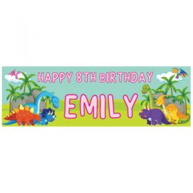 Giant Personalised Birthday Banner - Dinosaur Pink