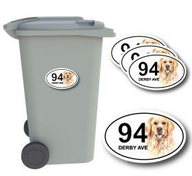 x4 Personalised Number & Street Name Wheelie Bin Stickers (Dog)
