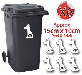 x6 Personalised House Number & Street Name Wheelie Bin Stickers (Dog Sitting)