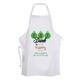 Personalised Christmas Apron - Eat Drink and be Merry