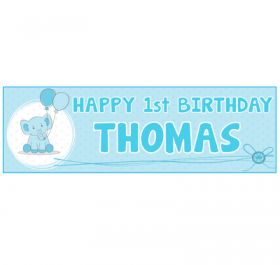 Giant Personalised Birthday Banner - Elephant Blue