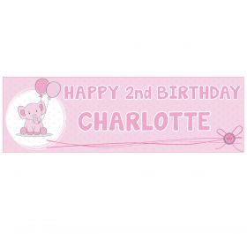 Giant Personalised Birthday Banner - Elephant Pink