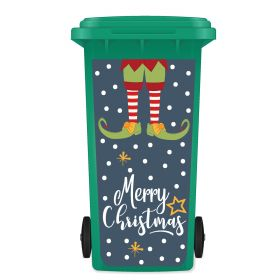 CHRISTMAS WHEELIE BIN STICKER PANEL - Christmas Elf