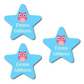 30 Star Cute Owl Name Labels